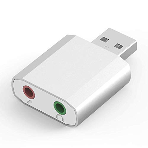 OPmeA Mini Externe USB-Soundkarte USB zu 3,5 mm Kopfhörer-Adapter-Audiokarte für Mikrofon-Lautsprecher Laptop PS4 Computer Soundkarte (Farbe : Silber)