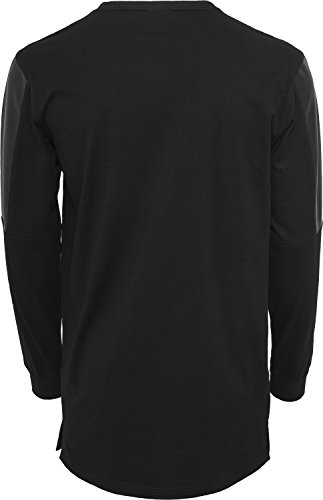 Leather Imitation Block Longsleeve black-black
