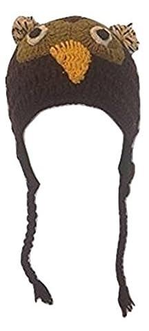 100% Wool Hand Knit Winter Earflap Ski/Snowboard Warm Hat Brown Owl Bird