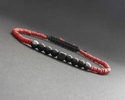Bracelet fin homme, corail rouge naturel, hématite, onyx noir mat
