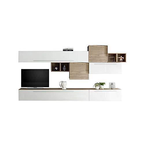 We point parete attrezzata bianco lucido e noce chiaro cm 310x36xh.195