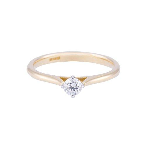 0.25ct in Oro giallo 9ct Round Brilliant Diamond look anello solitario, Oro giallo, 66 (21.0), cod.