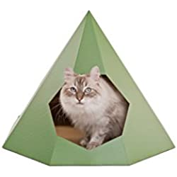 Design for pussies Cat Tipi Green–Design Panier pour Chat en Haut de Gamme, Carton Solide L 100% Matériau Naturel L Gratuit DIY Arbre à Chat Pad, Attrape-Rêves Jouet, Herbe à Chat.