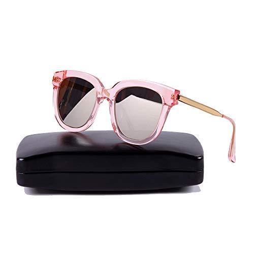 Easy Go Shopping Womens Classic Solid Color Retro Style polarisierte Sonnenbrille gespiegelte Gläser Sonnenbrillen und Flacher Spiegel (Farbe : Rosa)