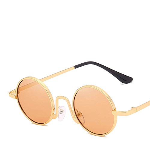BJYG Sport-Sonnenbrille Vintage Round Frame polarisierte Sonnenbrille Männer und Frauen Aviator Sonnenbrille Multicolor Laufen, Reiten, Angeln Sonnenbrille (Farbe: Gelb)
