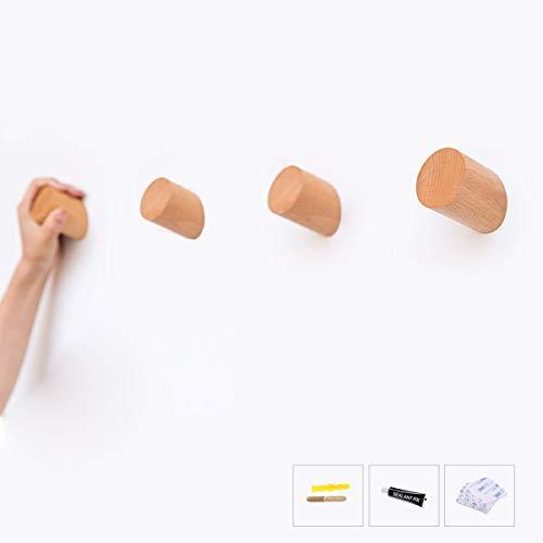 HomeDo Wandhaken, Hutständer, Kleiderhaken aus Holz, Wandmontage, dekorative Haken, einzelner Organizer für Hut, Handtuchhalter, strapazierfähige Haken Cylinder-Beech Wood 3pack