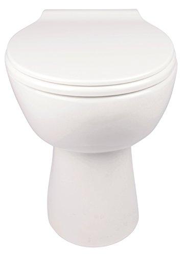 Stand-WC | Spülrandlos | Inklusive WC-Sitz | Tiefspüler | Abgang waagerecht | Weiß | Toilette | Spülrandloses WC | Klo | Toilettensitz | Stand-Wc | Design | Keramik | Modern | Hygiene - 4