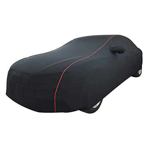 NUANXIN Autoabdeckung Kompatibel mit Audi A1, A3, A4, A5, A6, A7, A8, Q3, Q5, Q7, S5, S6 Stretch-Stoff-Autoabdeckung,Schwarz,A4