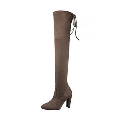 WZG Était mince bottes stretch daim chaussures après les sangles croisées en dentelle épaisse avec des bottes à talons hauts, genou haut bottes Khaki