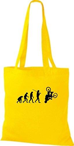ShirtInStyle Stoffbeutel Jute Evolution Motorrad Fahrrad Biken Stunt Freebike Biker diverse Farbe gelb