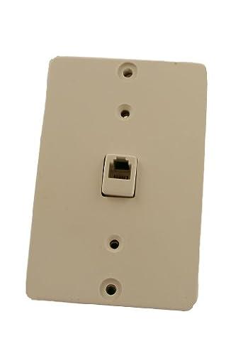 Leviton 40257-W Telephone Wall Phone Jack, 6P4C, Screw Terminal, White