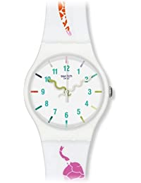 Swatch - Reloj analógico unisex de silicona blanco