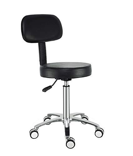 4 Pneumatische Räder (Rollstuhl, Drehstuhl mit Rollen und Rückenstütze, verstellbare Höhe, pneumatischer Arbeitshocker für Büro, Geschäft, Spa, Dental, Küche, Medizinischer Computer Friseur mit Rädern (schwarz))