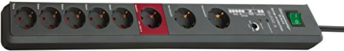 Brennenstuhl Secure-Tec, Steckdosenleiste 8-fach mit Überspannungsschutz und Master Slave Funktion (3m Kabel und Schalter) Farbe: anthrazit