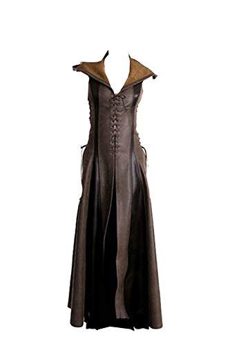 Disfraz Medieval de Mujer Vestido Vintage Adulto Marron Sexy sin Mangas con Capucha Traje de Cuero PU,L