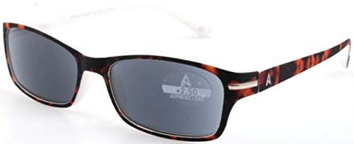 Atlantic Eyewear AE0055 Lesebrille Sonnenbrille Brillen UV400 Braun und weiß für Männer und Frauen mit Etui (+1.50)