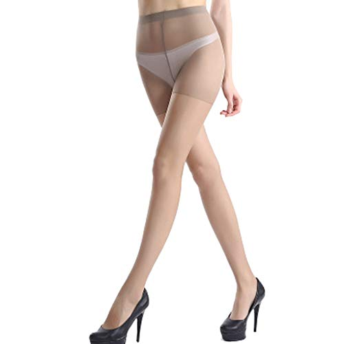 JERKKY Womens Plus Size Sexy Perspective Ultradünne Strumpfhose Hohe Taille Nylon Footed Strumpfhose Elastische Dünne Strümpfe Dessous Volltonfarbe Grundkaffee