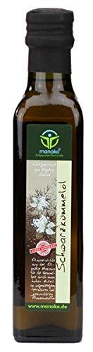 manako Schwarzkümmelöl human, kaltgepresst, 100 % rein, 250 ml Glasflasche (1 x 0,25 l)