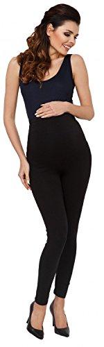 Zeta Ville - Femme maternité leggings pantalon empiècement extensible - 975c Noir