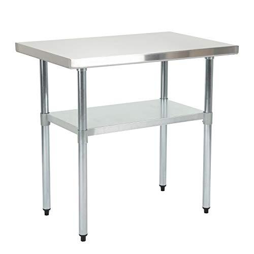 TAMMIBLE SUNCOO Zubereitungstisch Edelstahl-Tisch Arbeitstisch Küche Tisch mit Einstellbarer Großer Ablagefläche Küche-,Restaurant-, und Arbeitsvorbereitungstisch 91,5 * 61 *