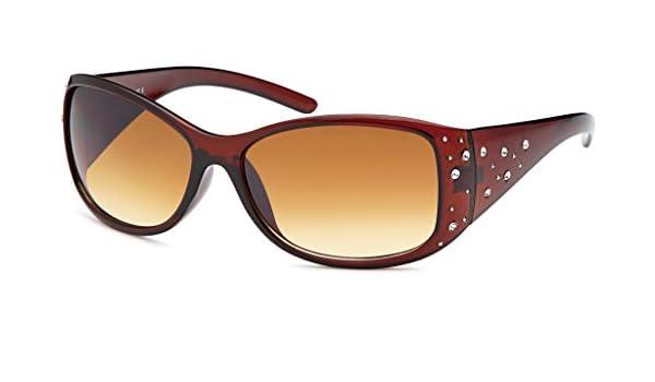 Klassische Damen Sonnenbrille Schmetterlingsbrille mit Metallapplikation am Scharnier UV 400 Filter- Im Set mit Etui (glänzend braun) VXnhhfIbU7