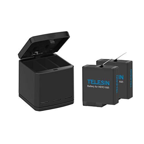 AFAITH Caricabatterie Tripla per Gopro con Ricaricabile Batterie (2 pezzi) custodia di ricarica dock 3-canali Caricatore Rapido + Cavo Type C per GoPro Hero 5 Hero 6 Hero7 Black