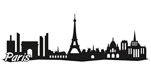 Samunshi® Paris City Skyline Aufkleber Sticker Autoaufkleber Gedruckt in 7 Größen (15x5cm schwarz)