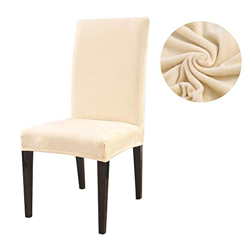 Crema fodera per sedia, coprisedie con schienale elasticizzata in peluche spesso spessa,copertura protettiva per sedie,lavabile estraibile copertura della sedia protezione in tessuto per casa(8pcs)