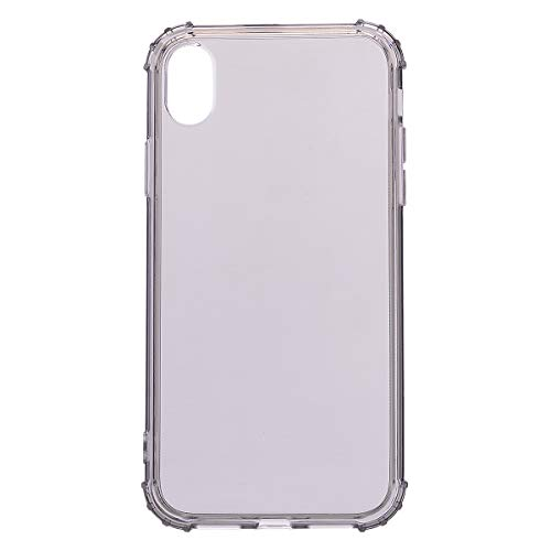 DECVO Schutzhülle kompatibel mit iPhone XS Max (6,5 Zoll) Stoßdämpfend Drop Schutz Flexible Hybrid Bumper und Anti-Scratch Clear Transparent Rückseite Ultra Dünn Soft TPU Case für iPhone 9 Plus, grau Pink Unlocked Cell Phones