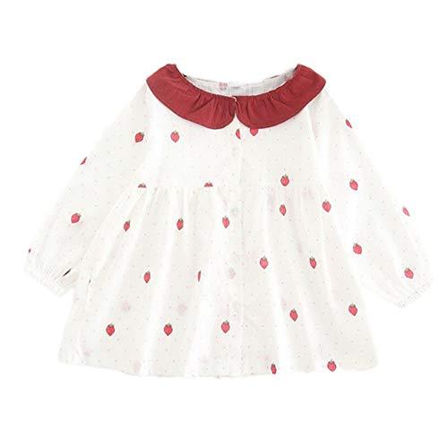 jgashf Kinder Mädchen Kleider Tops Strawberry Print Kleinkind Baby Kinder Princess Dress Warme Kleidung Langarm (15, Weiß)