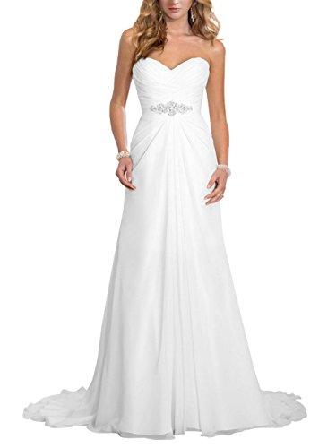 JAEDEN Brautkleid Lang Chiffon A Linie Hochzeitskleid Damen Brautmode mit Schleppe Elfenbein EUR36