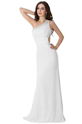 Sunvary uno Chiffon spalla con parte posteriore aperta Sexy vestiti da sera sera Pageant Gowns White