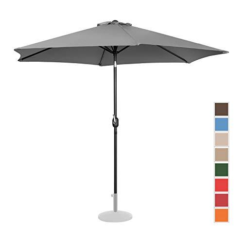 Uniprodo Parasol De Terrasse Droit Grand Protection Solaire UNI_Umbrella_TR300DG (Anthracite, Hexagonal, Ø 300 Cm, Acier, Alu, Polyester Haute Densité 180g/m2)