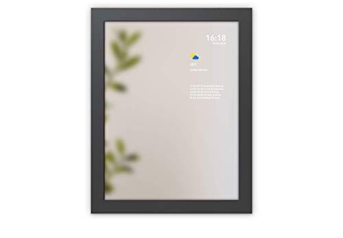 SMART Miroir par Mysmartmirror Cadre noir Miroir en verre qui cette personnalisée Google Affichage Calendrier, Actualités, météo, Trafic, trains, tubes-Medium (30x 40), Structure noire, 33cm x 43cm