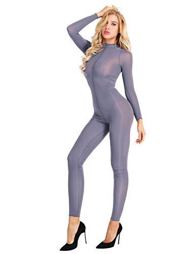 Tiaobug Damen Ganzkörperanzug Jumpsuit Einteiler Hose Overall Halb-transparent Body Bodysuit eng sexy Kostüm Catsuit mit Reisverschluss Dessous Unterwäsche Grau M (Bodysuit Kostüm Frauen)