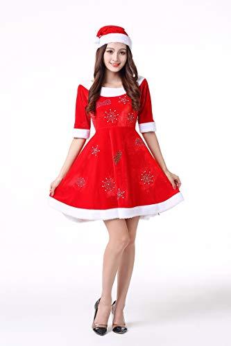 SDLRYF Babbo Natale Vestito Adulto Costume di Natale Oro Femminile di Velluto Natale Costume di Carnevale Set Uomo Vecchio Costume