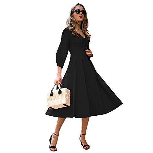 Frauenkleid Damen Kleid V-Ausschnitt Sieben Punkte Ärmel Hohe Taille Große Größe Damen Kleid A-Linie Rock Polyester (Color : Black, Size : L) - Leichtes Spandex-rock