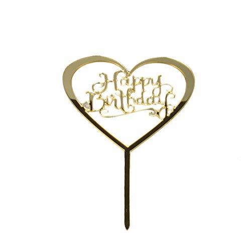 Sunlera Alles Gute zum Geburtstag Brief Liebes-Herz-Kuchen-Deckel Acryl DIY Kuchen-Kuchen-Smash-Kerze-Partei-Handmade-Stick