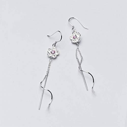 Katylen Frauen Western Fashion S925 Silber Blume Ohrringe Frauen Diamant Sakura Welle Fringe Lange Ohrringe Ohrschmuck Frauen, S925 Silber Paar -