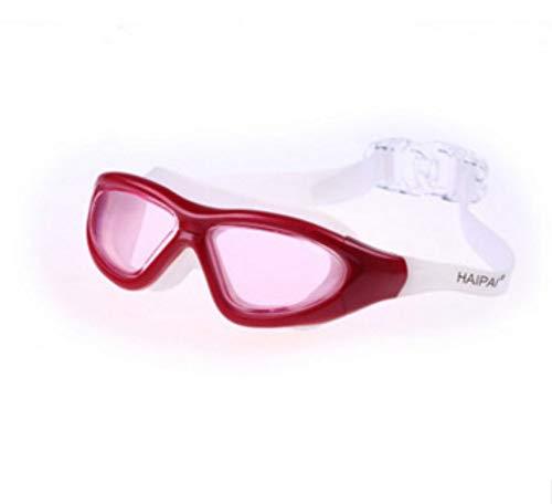 1024 Brille (MHP Schwimmbrille für das Hallenbad, Flache, wasserdichte und beschlagfreie HD-Unisex-Schwimmbrille für Erwachsene, rot)