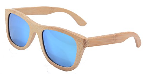 SHINU Woody Bambus Vayfarers Polyarized Flush Spiegel-Objektiv-Sonnenbrille vith Hour-Z6016 (bamboo nature,ice blue)