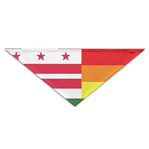 Rghkjlp Washington D.C USA Gay Rainbow Flag Pet Bandana Triangle Dog Cat Neckerchief Bibs Scarfs Accessories for Pet Cats and Baby ()