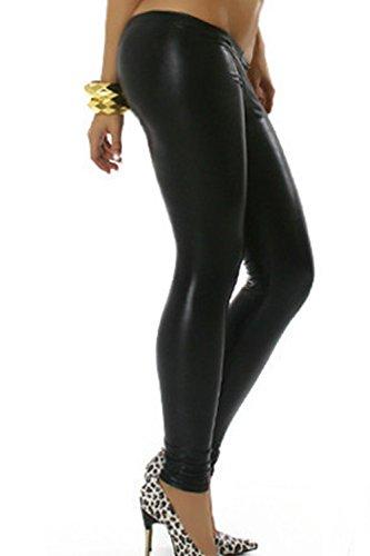 Leggings Sexy solide PU femmes Black