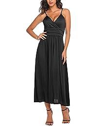 abf6d383cc9 Parabler Damen Falten ärmellos Kleid Elegant Sommerkleid Partykleid  Festliches Kleid Cocktailkleid…