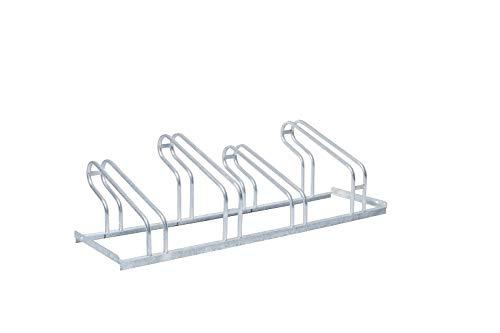 Fahrradständer Reihenparker TOP mit 4 Stellplätzen - einseitig - verschweißte Variante - Edelstahl - Reifenbreite: 55 mm - Radabstand: 350 mm -