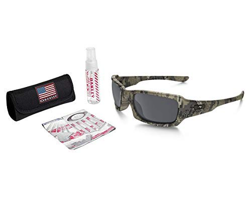 Oakley Fives Squared Sunglasses (Desolve Bare Frame/Black Iridium Lens) with USA Flag Lens Cleaning Kit