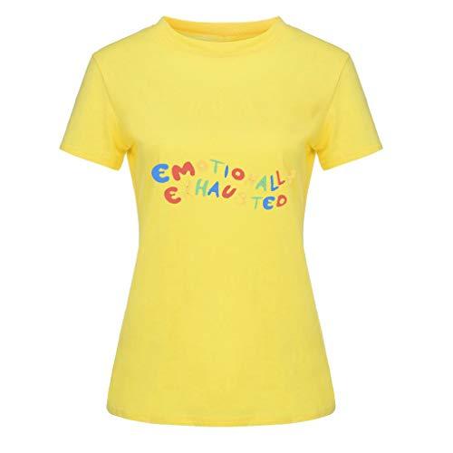 Junioren Tee (Performance Polo Shirt atmungsaktiv Shirt atmungsaktiv, Mode WomensO-Neck Kurzarm-Taschensack Plus Size Cotton Tee Casual Top, Gelb, 3XL)