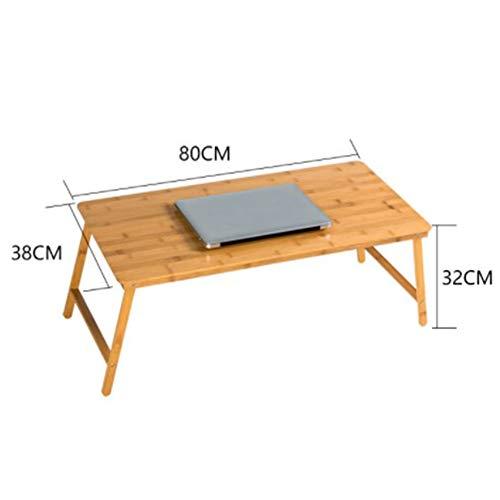 YFUIOVX Klapptisch Bett Quadrat Bambus Multifunktion Computer Laptop-Tisch, Faul Esstisch Draussen Lernen Schreibtisch,Woodcolor,80 *...