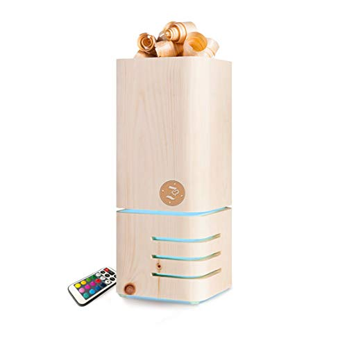 Elekrischer Aroma Diffuser/Duftlampe mit Nachtlicht - sehr LEISE - für Duft Öle aus Holz mit Zirben Duft - idealer Lufterfrischer und Raumduft für die Wohnung - Inkl. Fernbedienung und Lichtwechsel