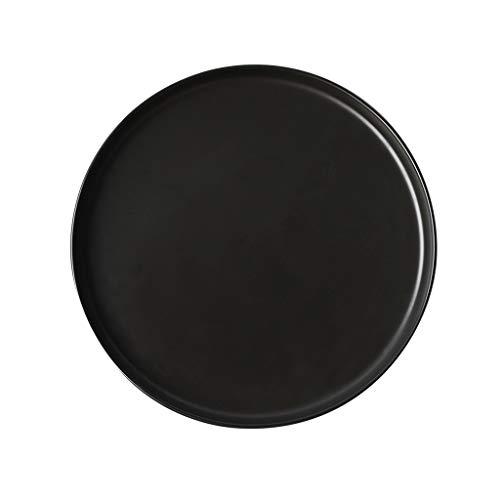 Assiettes à dîner/assiettes Assiettes à dîner Assiettes à soupe en porcelaine Craft Black (Couleur : NOIR, taille : 8.5-inch)